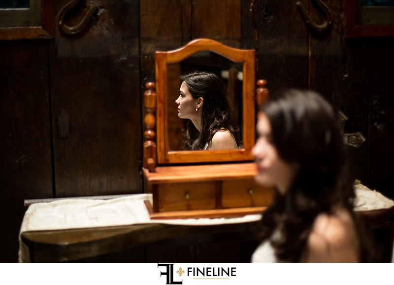 bride in mirror FINELINE weddings Greensburg PA