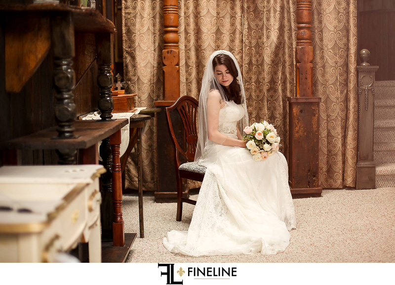 Bride in Rustic setting FINELINE weddings Greensburg PA