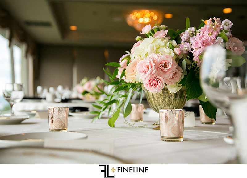 gold pink white and purple flowers wedding table settings