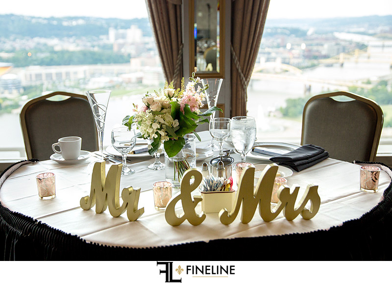 bride and grooms table mr & mrs
