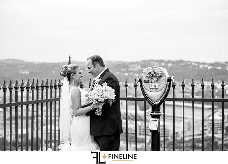Pittsburgh incline wedding photography bride and groom