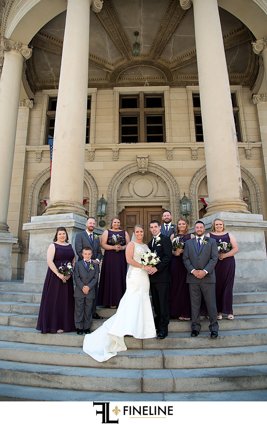George Washington Hotel Washington PA FINELINE Wedding bridal party purple ties gray suits
