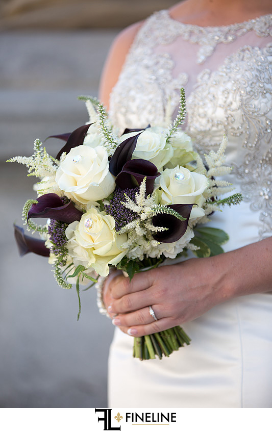George Washington Hotel Washington PA FINELINE Weddings white and purple bouquet with pearls