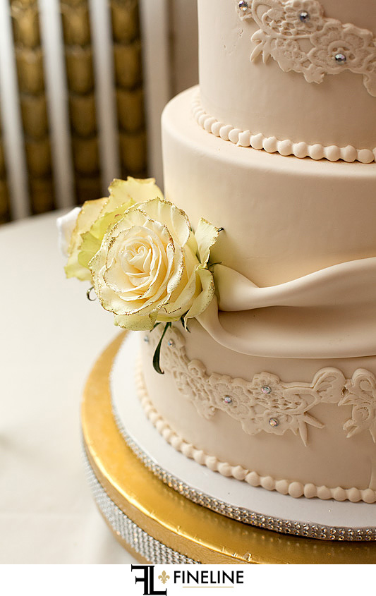 George Washington Hotel Washington PA FINELINE Weddings cake with white and gold flowers