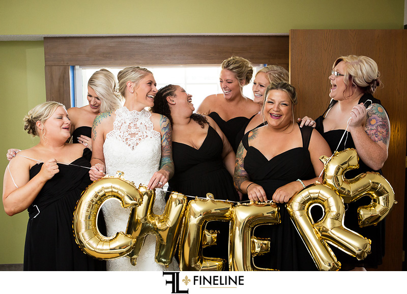 Wedding at West Overton Barn, Scottdale PA bridal party gold balloons cheers