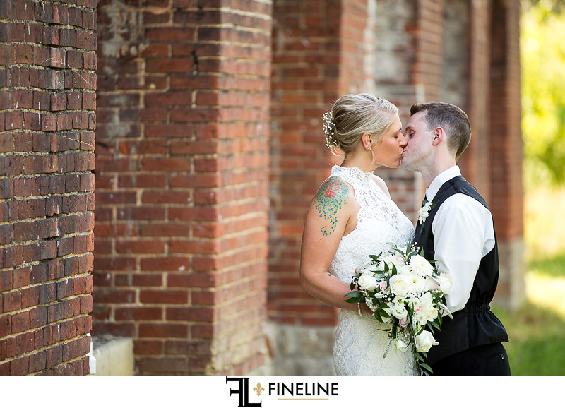Wedding at West Overton Barn, Scottdale PA FINELINE weddings Greensburgh PA bride and groom distressed brick