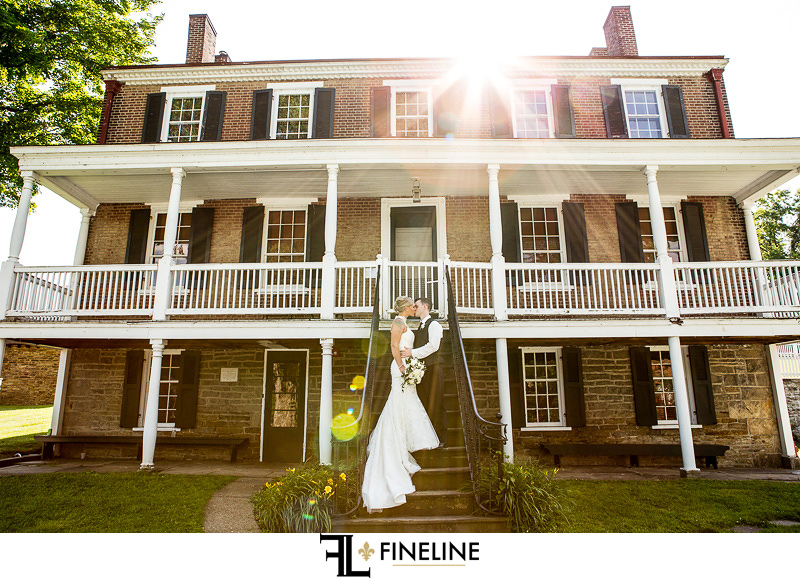 Wedding at West Overton Barn, Scottdale PA FINELINE weddings Greensburgh PA bride and groom tiered porch