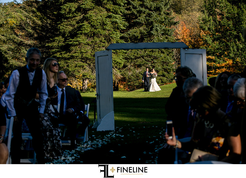wedding doors in open field