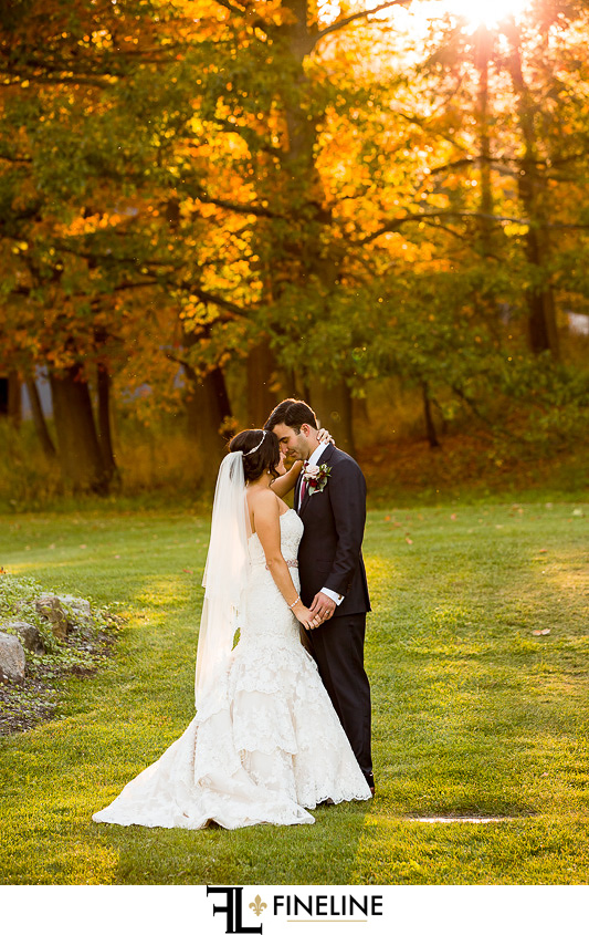 fall wedding with setting sun