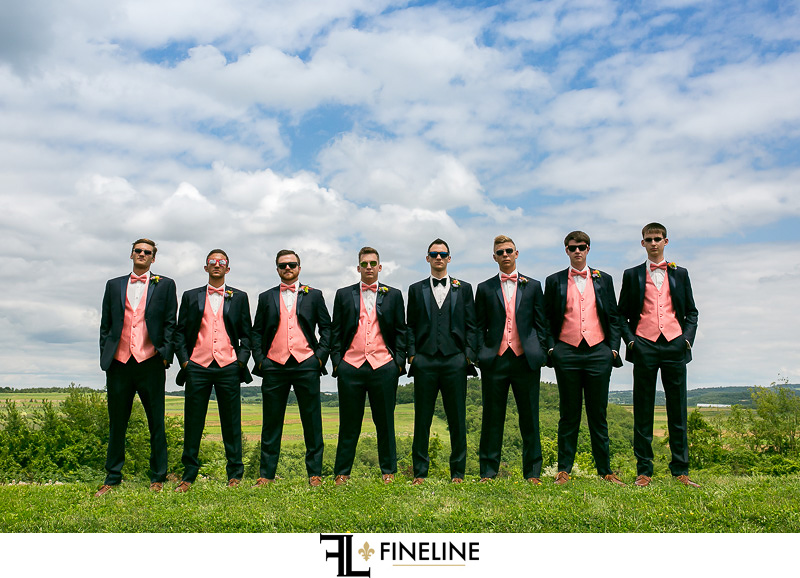 Groomsmen black suits and pink vests FINELINE weddings photography Greensburg PA