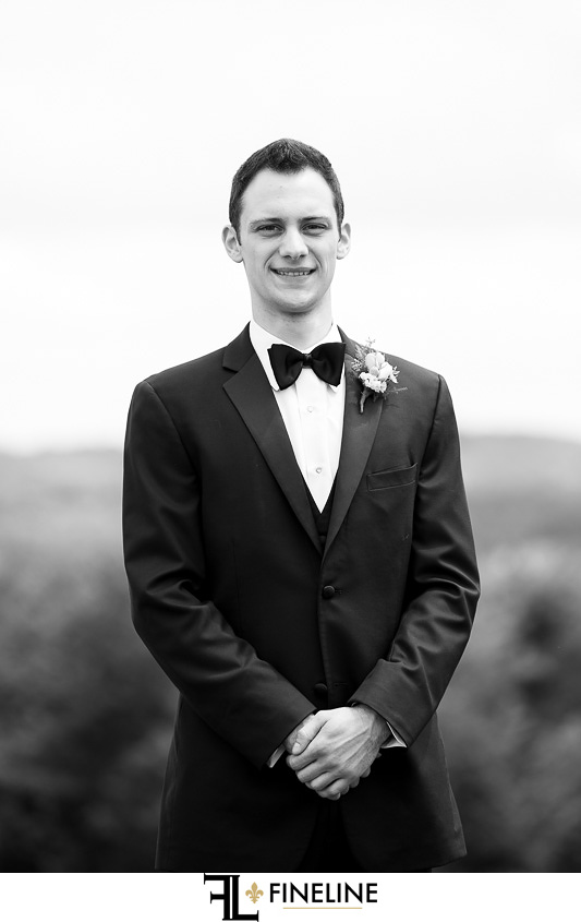 black and white photo of groom FINELINE weddings photography Greensburg PA