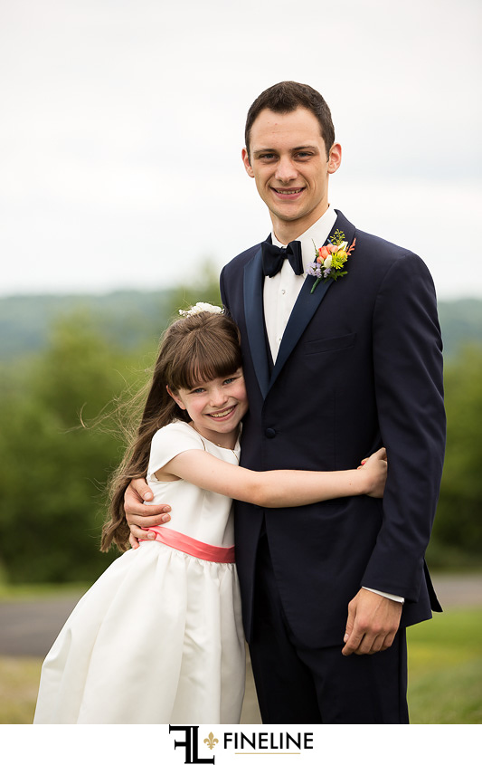 groom and flower girl