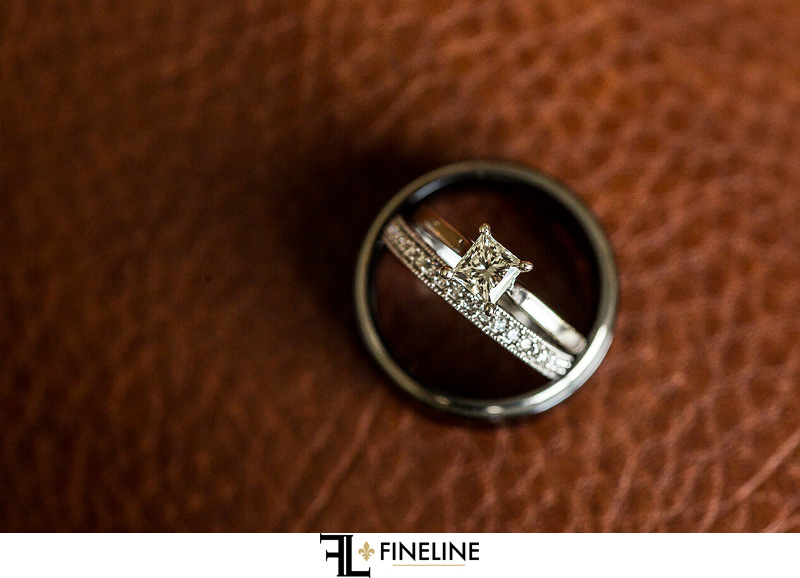 wedding rings on leather