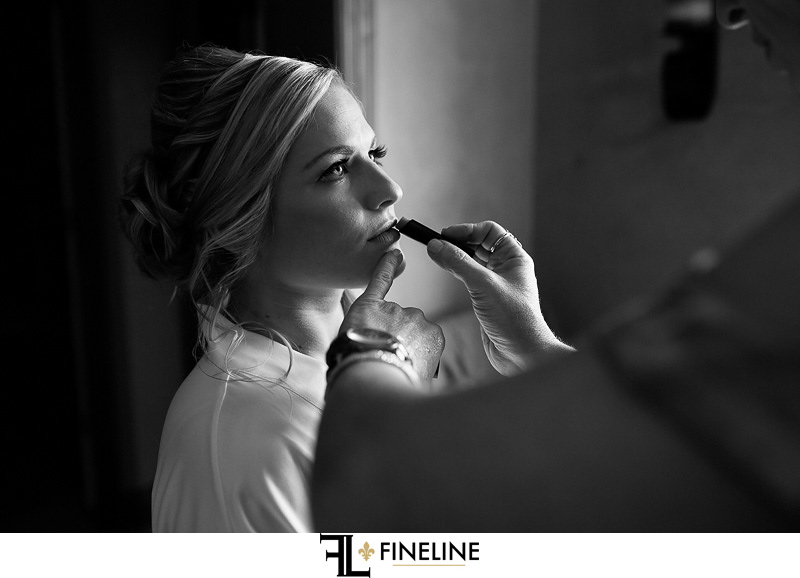 black and white photo getting ready
