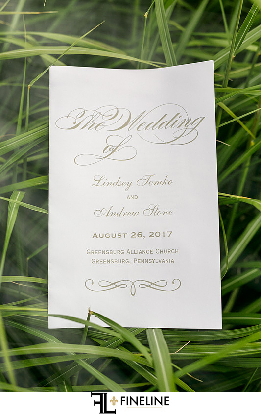 wedding program FINELINE weddings Greensburg PA