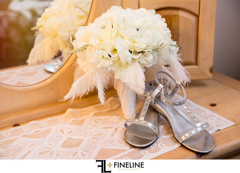wedding shoes and bouquet FINELINE Weddings Greensburgh Photography