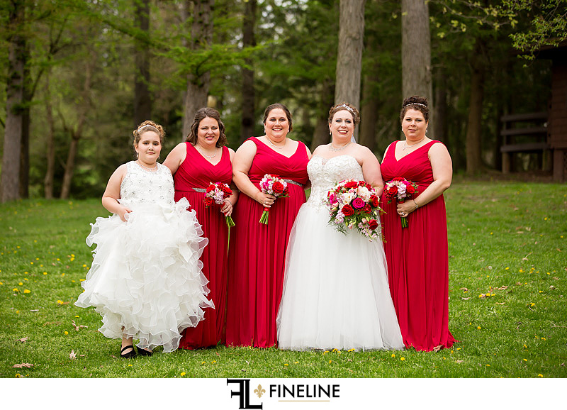 red bridesmaid dresses black and red wedding colors FINELINE weddings Greensburg PA