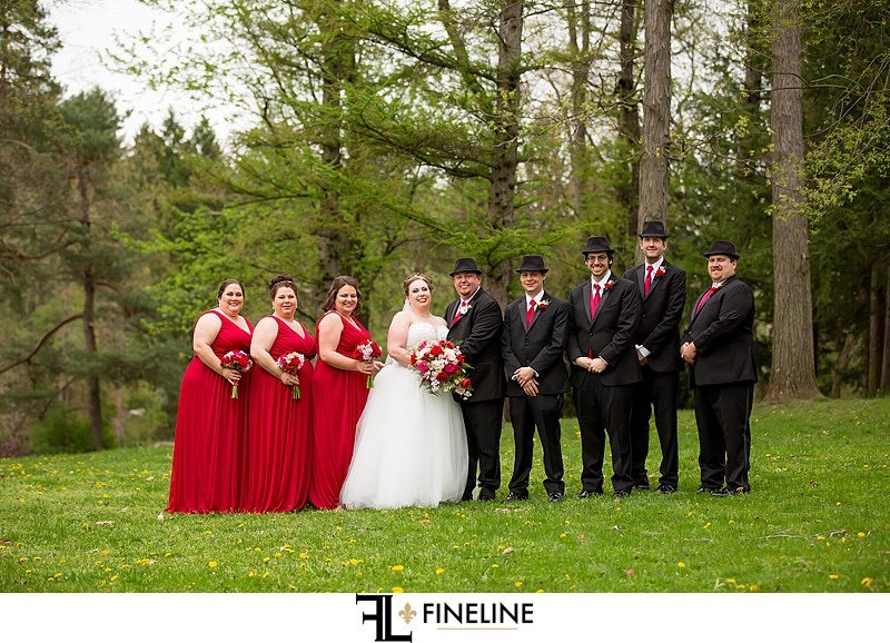 Twin Lakes park black and red wedding colors FINELINE weddings Greensburg PA