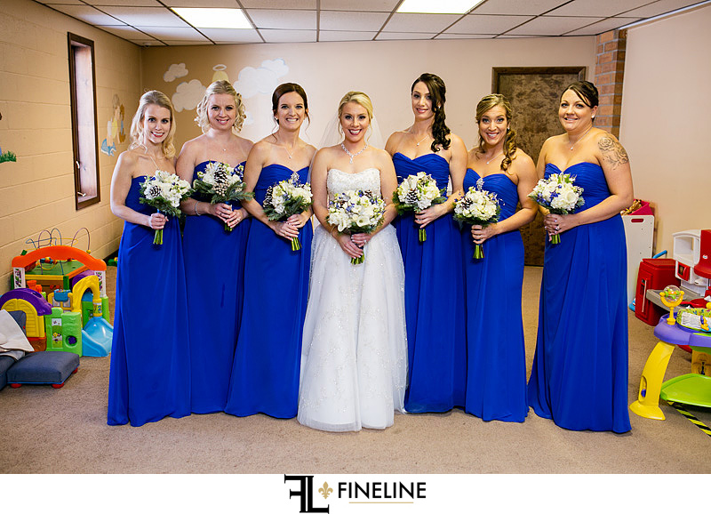bridal party in royal blue
