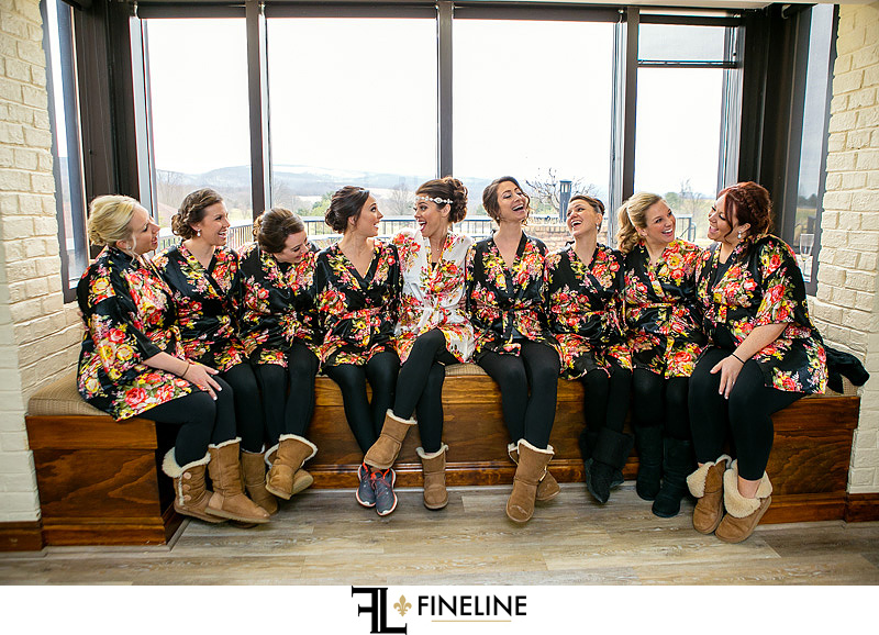 bridal party in floral robes