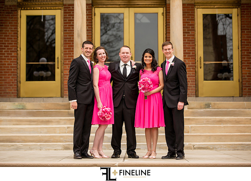 Bridal Party on pink and black FINELINE weddings photography Greensburg PA