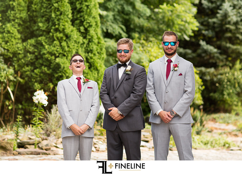 Grooms men gray and ruby The Barn at Madison FINELINE weddings Greensburg PA