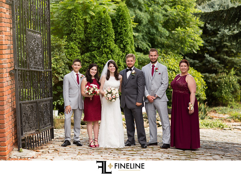 bridal party gray and ruby The Barn at Madison FINELINE weddings Greensburg PA