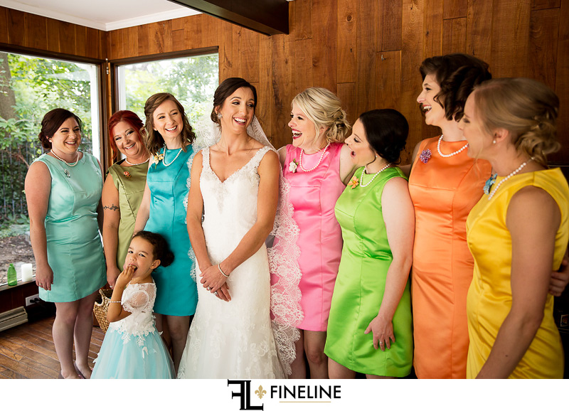 vintage colorful bridesmaid bresses photo by FINELINE Weddings Greensburg, PA