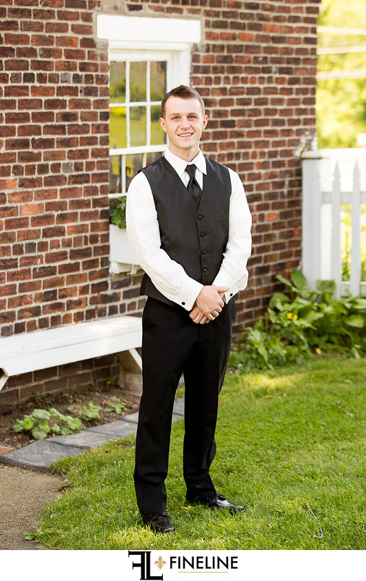 Wedding at West Overton Barn, Scottdale PA groom black vest and tie