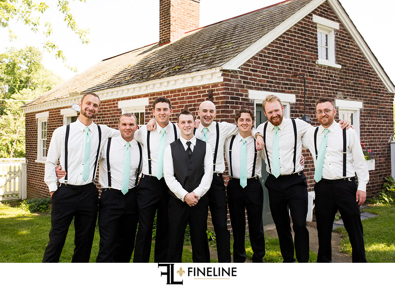 Wedding at West Overton Barn, Scottdale PA groomsmen black pants white shirt suspenders
