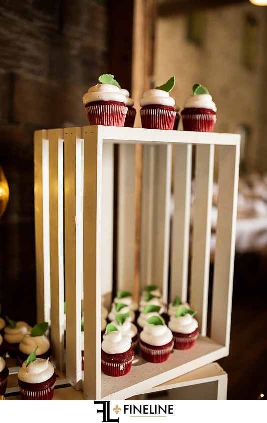 Wedding at West Overton Barn, Scottdale PA cupcakes in wood crate
