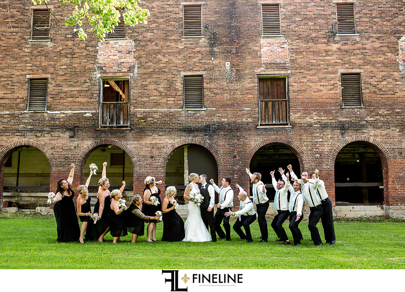Wedding at West Overton Barn, Scottdale PA FINELINE weddings Greensburgh PA rustic barn bridal party photo