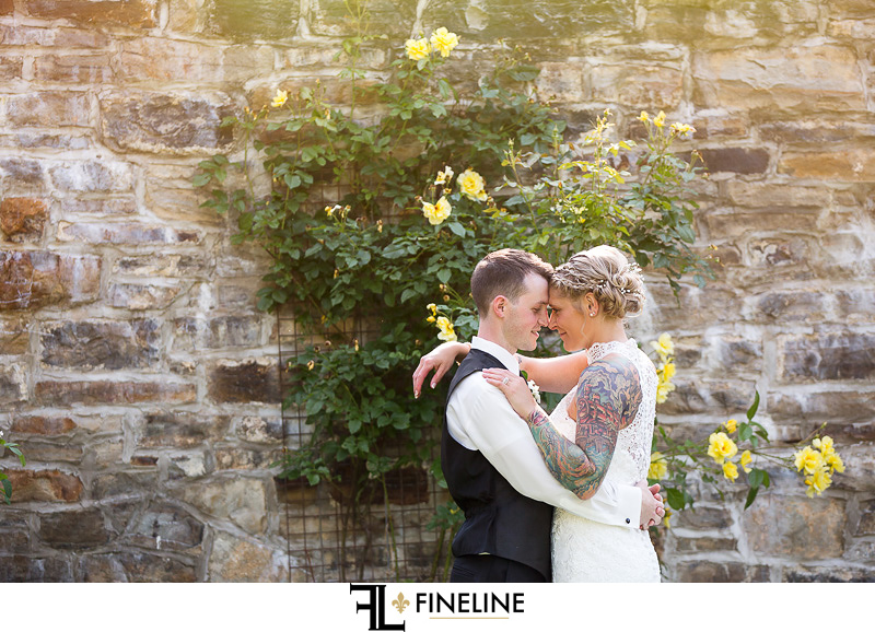 Wedding at West Overton Barn, Scottdale PA FINELINE weddings Greensburgh PA bride and groom country garden yellow flowers