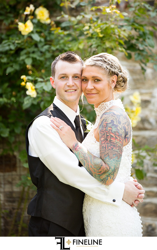 Wedding at West Overton Barn, Scottdale PA FINELINE weddings Greensburgh PA bride and groom tattoos