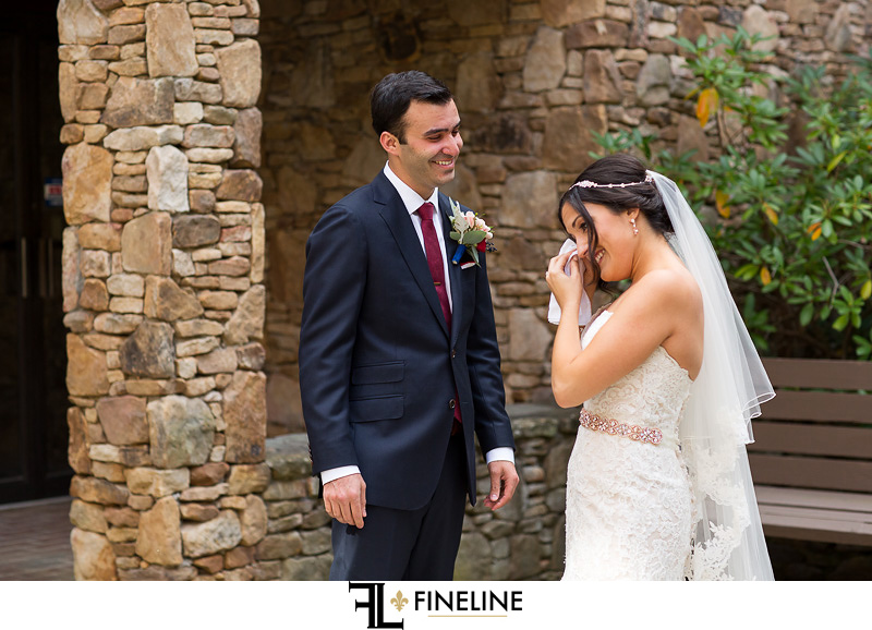 bride cries first look