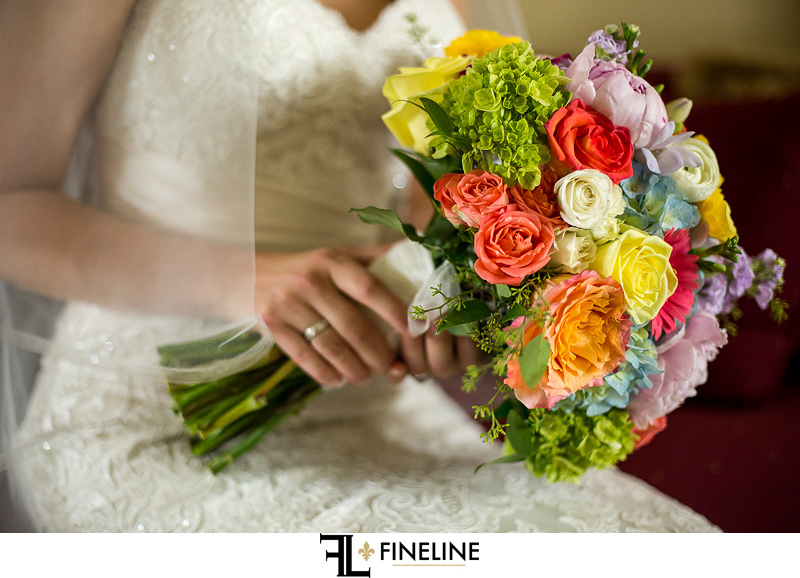 rainbow colored bouquet FINELINE weddings photography Greensburg PA