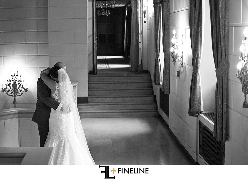 bride and groom first look hotel