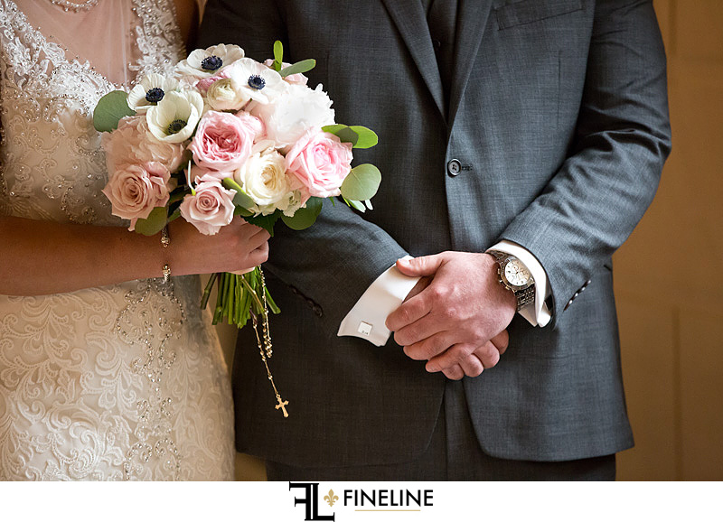 detail shot of bouquet and watch