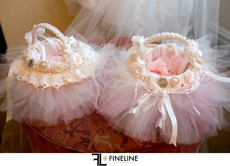 flower girl baskets pink and ribbon