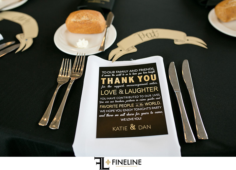 black and gold table thank you note