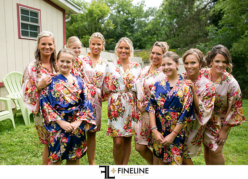 bridesmaids in floral robes photo by FINELINE weddings Greensburg, PA