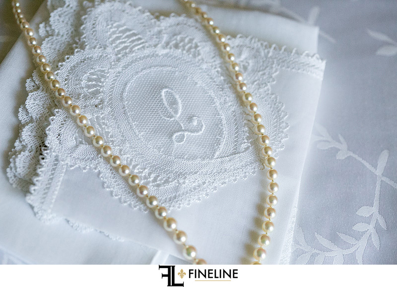 pearls and monogram photos by FINELINE Weddings Greensburg PA