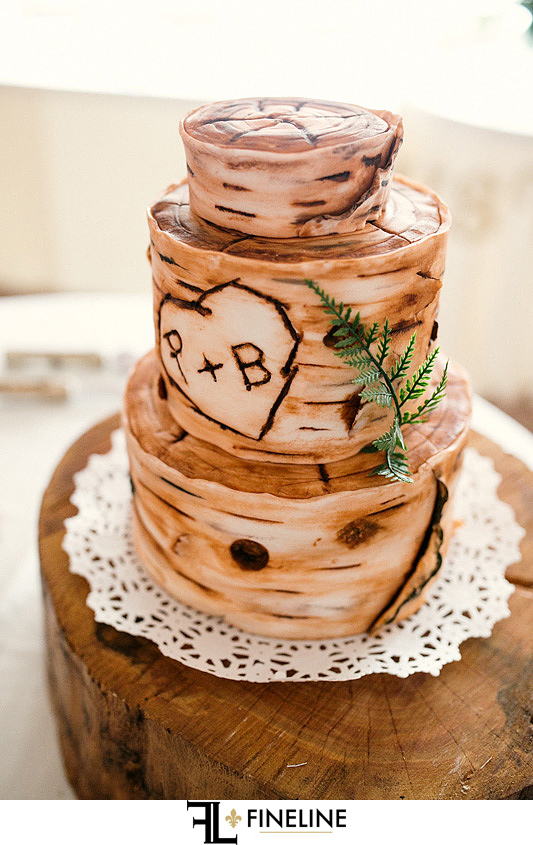 wood cake Ligonier Country Inn Wedding Bridal Party photo by FINELINE weddings Greensburg, PA
