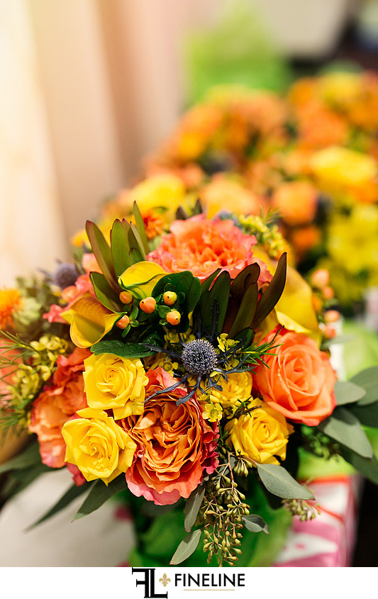 coral and yellow flowers