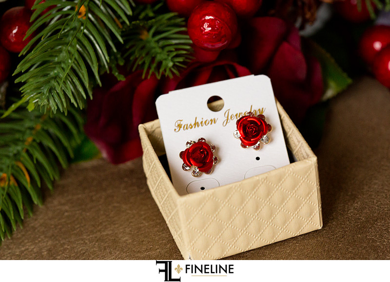 red rose earrings photo by FINELINE Weddings Greensburg, PA
