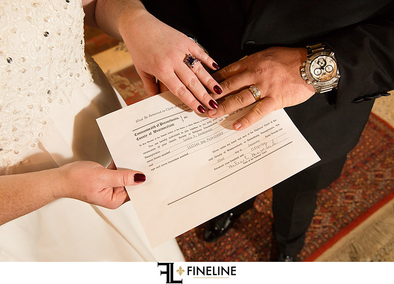 Wedding License photo by FINELINE Weddings Greensburg, PA