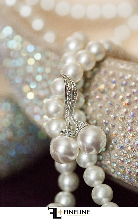 pearls and wedding shoes