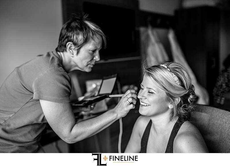 bride getting ready black and white photography