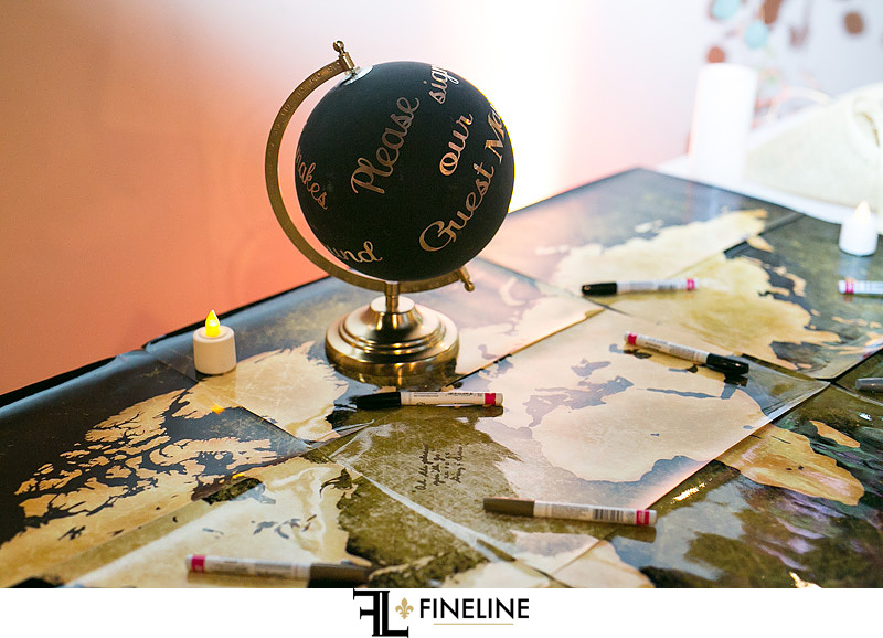 travel wedding theme sign the map