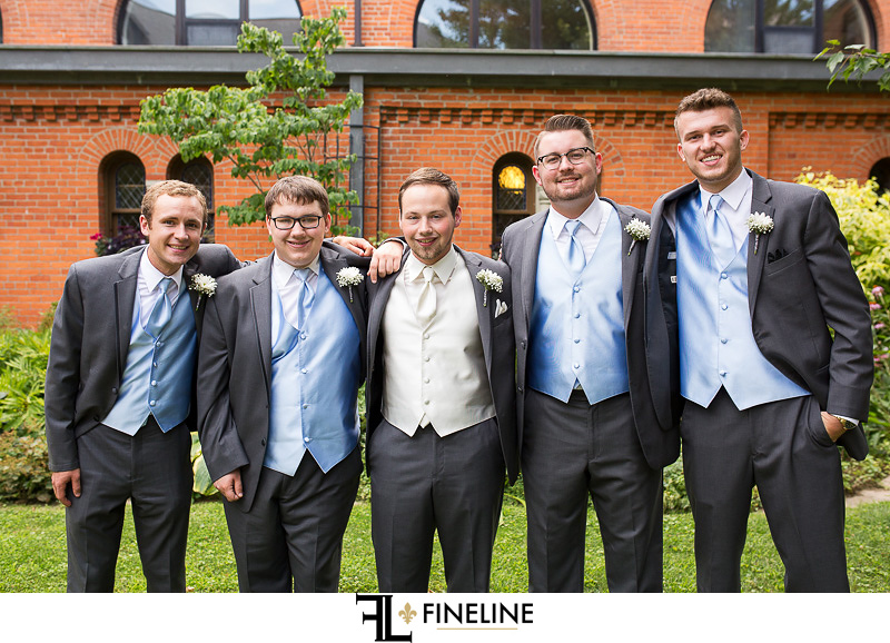 groom with groomsmen photo by FINELINE Weddings Greensburg, PA